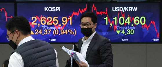 A screen shows the final figure for the Kospi in a dealing room in Hana Bank in Jung Distrct, central Seoul, on Thursday. [NEWS1]