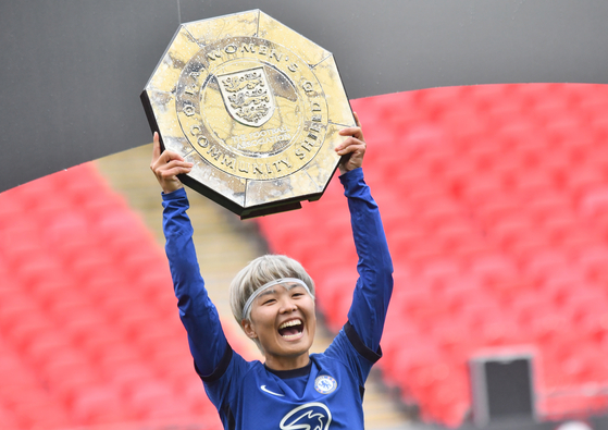 Chelsea's Ji So-Yun celebrates winning the English FA Women's Community Shield match between Chelsea and Manchester City at Wembley Stadium in London on Aug. 29. [EPA/YONHAP]