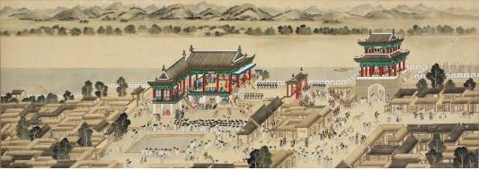 """""""Yeongwangjeong Yeonhoedo"""" is part of """"Pyeongan Gamsa Hyangyeondo,"""" presumed to be painted by Joseon-era artist Kim Hong-do (1745-1806). [NATIONAL MUSEUM OF KOREA]"""
