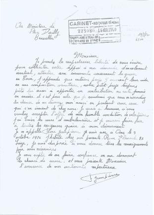 Flore Jeanpierre's letter. [EMBASSY OF BELGIUM IN KOREA]