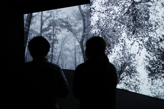 Visitors watch the black-and-white film featuring Jeju Island by French filmmaker and media artist Jean-Julien Pous, who attempted to portray Kim Jeong-hui's struggle and introspection during exile through the piece. [YONHAP]