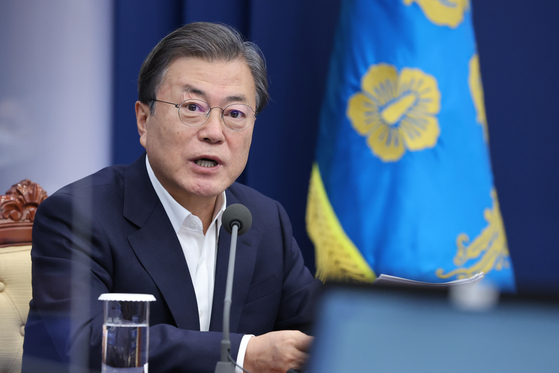 President Moon Jae-in speaks during the senior presidential secretariat meeting on Monday. [YONHAP]