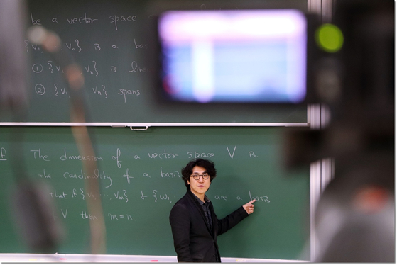 A professor teaching his class online at Pohang University of Science and Technology (Postech) in North Gyeongsang this fall semester. [POSTECH]