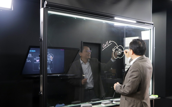 A professor teaches his class online from a studio in Pohang University of Science and Technology (Postech) in North Gyeongsang this fall semester. [POSTECH]