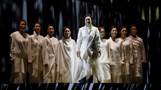 """National Changgeuk Company performs """"The Trojan Women"""" at the National Theater of Korea in central Seoul. The changgeuk (traditional Korean opera) version of the Greek play has been co-produced by the National Theater of Korea and the Singapore International Festival of Arts. [NATIONAL THEATER OF KOREA]"""