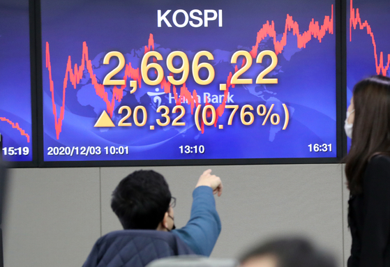 The trading board at the headquarters of Hana Bank in central Seoul shows the Kospi's record-high close at 2,696.22 on Thursday. [YONHAP]