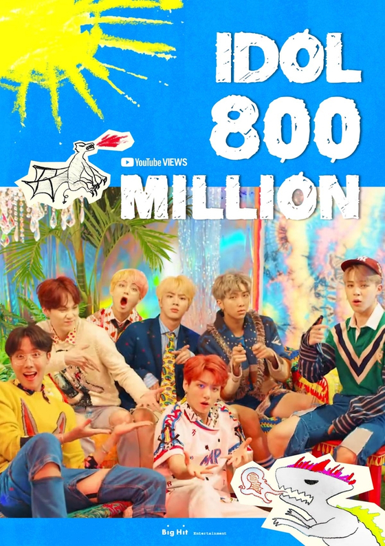 Big Hit Entertainment congratulates BTS's music video ″IDOL″ to surpass 800 million views on Wednesday evening. [BIG HIT ENTERTAINMENT]