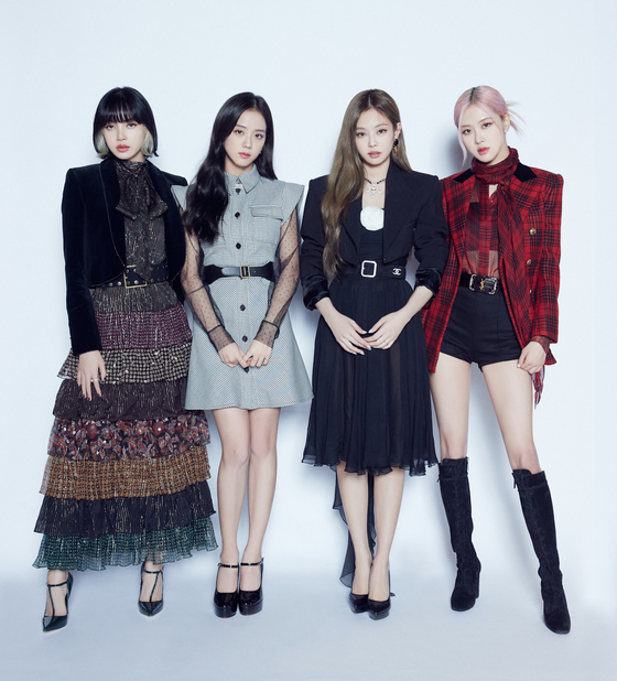 Girl group Blackpink poses for a photo for an online press conference held on Oct. 2 after the release of its first full-length album. [YG ENTERTAINMENT]