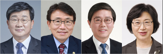 This composite file photo shows, from left to right, Rep. Jeon Hae-cheol of the Democratic Party, Korea Health Industry Development Institute chief Kwon Deok-cheol, LH chief Byeon Chang-heum and Korea Foundation For Women chief Chung Young-ai, who were nominated as new ministers of interior, health, land and transport, and gender equality, respectively, by the president Friday. [YONHAP]