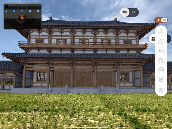 A part of Hwangnyong Temple, the biggest temple of the ancient Silla Kingdom (57 BC - 935 AD) later destroyed duing a war in 1238, was restored via augmented reality in July as part of the Cultural Heritage Administration's digitization projects. [CULTURAL HERITAGE ADMINISTRATION]