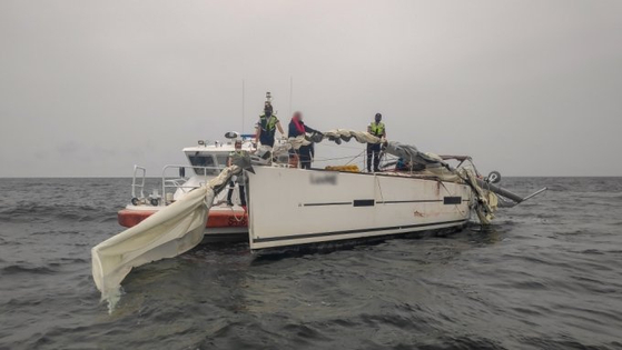 Han's yacht after colliding with a cargo vessel off the coast of Yeosu, South Jeolla, on Sept. 17. [YEOSU MARINE POLICE]