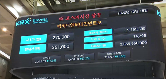 Brokerage houses in Korea posted a record quarterly earning during July-Sept. period this year on the back of stock trading booms and major IPO deals. Big Hit Entertainment, an agency behind BTS, was one of major IPO deals this year. [YONHAP]