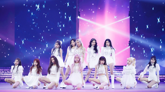 Girl group IZ*ONE performs on stage at the 2020 Mnet Asian Music Awards (MAMA) hosted by CJ ENM on Sunday. [ILGAN SPORTS]