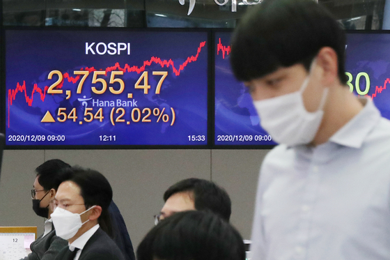 The final figure for the Kospi is displayed in a trading room at Hana Bank in Jung District, central Seoul, on Wednesday. [NEWS 1]