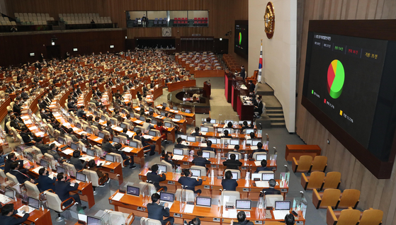 A digital board at the National Assembly shows the voting results for a law aimed at tightening monitoring of corporate governance on Wednesday. [OH JEONG-TAEK]