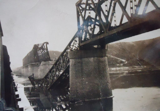A railway bridge that was blown up just after India's paratroopers and medics crossed it on a steam locomotive in December 1950. [EMBASSY OF INDIA IN KOREA]