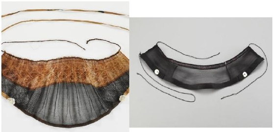 Left shows mangeon, a men's headband worn during the Ming Dynasty of China, while right shows a mangeon of Korea's Joseon Dynasty. [CULTURAL HERITAGE ADMINISTRATION]
