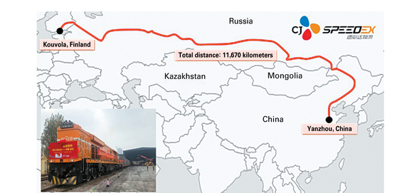 A map shows the route that the CJ Speedex freight train took from Finland to China. The train ran a total of 11,670 kilometers (7,251 miles) in 19 days. [CJ SPEEDEX]