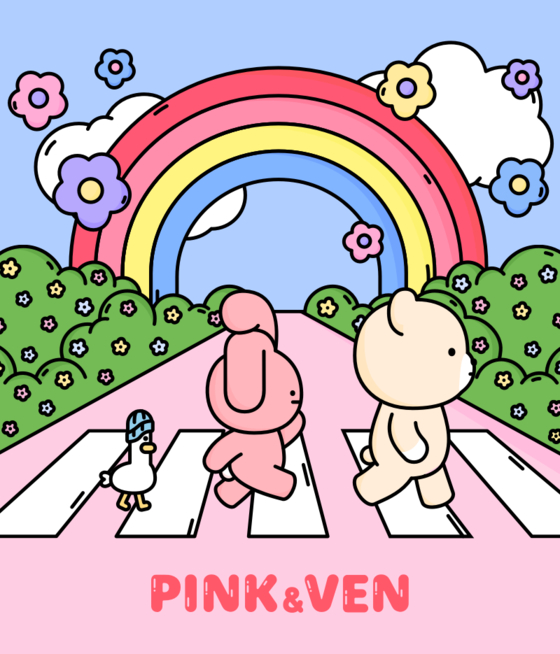 """Music distribution company NHN Bugs introduced its """"Pink & Ven"""" characters in collaboration with character entertainment company Studio Origin. [NHN BUGS]"""