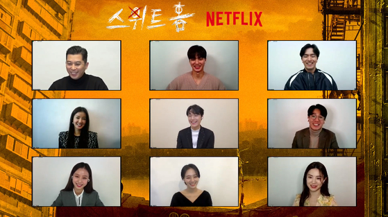 From left, director Lee Eung-bok, actors Song Kang, Lee Jin-uk, Lee Si-young, Lee Do-hyun, Kim Nam-hee, Ko Min-si, Park Kyu-young and Go Youn-jung participate at an online press event on Wednesday before the premiere of their Netflix original series ″Sweet Home″ on Wednesday. [SCREEN CAPTURE]
