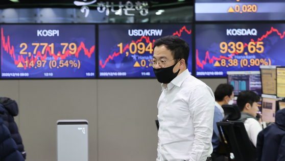 The closing figures for the Kospi and the dollar against the won are displayed in a dealing room at Hana Bank in Jung District, central Seoul, on Wednesday. The Kospi set a fresh record on Wednesday, backed by optimism from the U.S. stimulus talks and positive reports about Moderna's Covid-19 vaccine candidate. The Kospi rose 14.97 points, or 0.54 percent, to close at 2,771.79. [YONHAP]