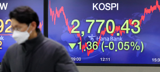 The closing figure for the Kospi is displayed on a screen in a trading room in Hana Bank in Jung District, central Seoul, on Thursday. [YONHAP]