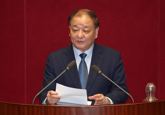 Kang Chang-il, Korea's ambassador-designate to Japan, speaks at the National Assembly in May. Kang was a four-term lawmaker from the ruling Democratic Party and honorary chairman of the Korea-Japan Parliamentarians' Union. [NEWS1]