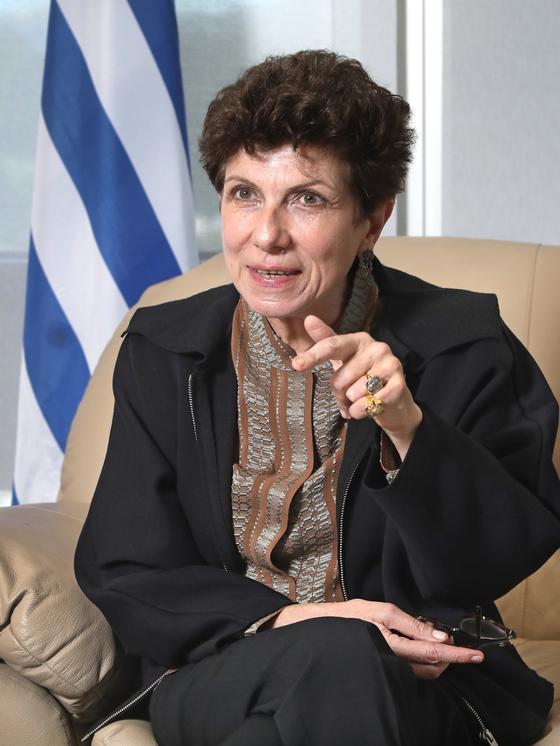 Greek Ambasasdor to Korea, Ifigeneia Kontoleontos, at the embassy in Seoul. [PARK SANG-MOON]