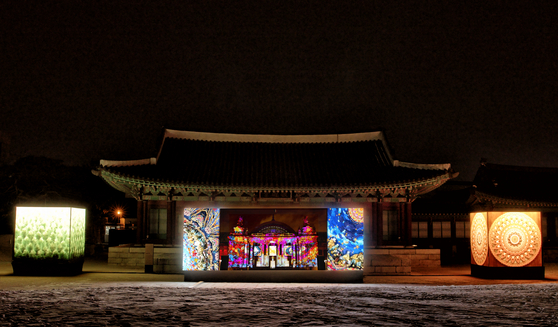 A media art show by col.l.age+, a team of artists Jang Seung-hyo and Kim Yong-min, at Jongchinbu, a Joseon-dynasty (1392-1910) building within the National Museum of Modern and Contemporary Art in central Seoul. [MMCA]