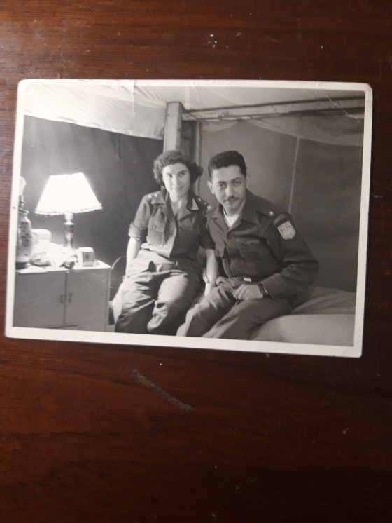 Second Lt. Constantinos Farros, right, with his wife-to-be, during the war in Korea. She served as a Greek nurse during the war. [CONSTANTINOS FARROS]