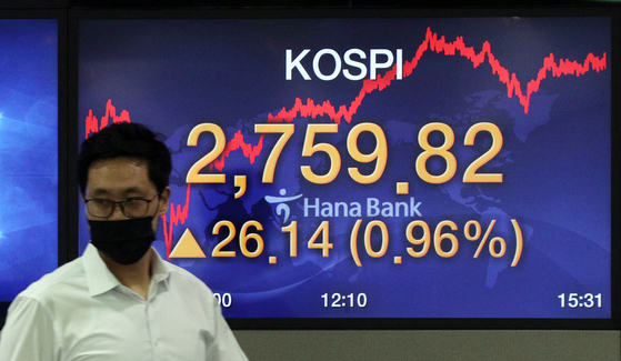 The screen in a dealing room in Hana Bank in Jung District, central Seoul, shows the closing figure for the Kospi on Wednesday. [NEWS 1]