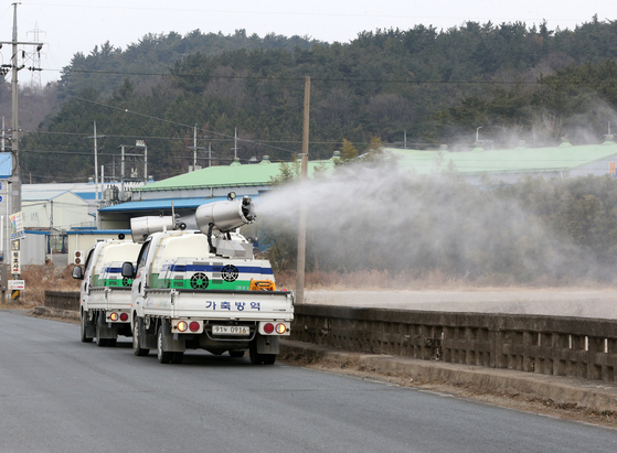 Disinfection is underway in Gyeongju, North Gyeongsang, on Wednesday, following a case near the region. [YONHAP]