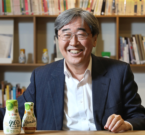 Sempio Foods CEO Park Jin-sun during an interview with the Korea JoongAng Daily at the company's headquarters in central Seoul on Dec. 21. [PARK SANG-MOON]