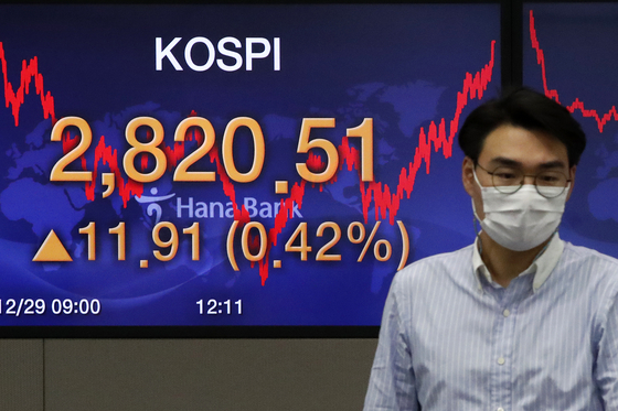 A screen in a dealing room in Hana Bank in Jung District, central Seoul, shows the final figure for the Kospi on Tuesday. [NEWS1]