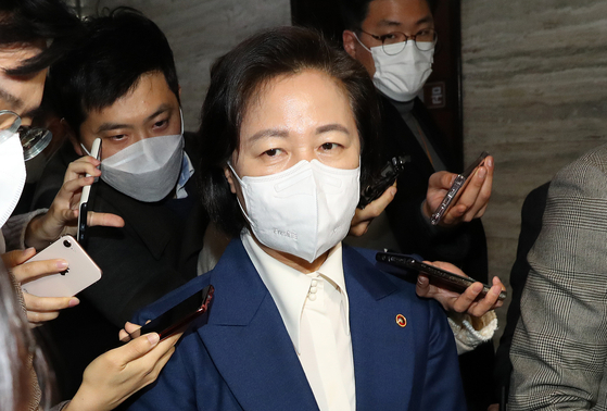 Justice Minister Choo Mi-ae answers reporters' questions as she left the nomination panel meeting at the National Assembly on Monday.  [NEWS1]