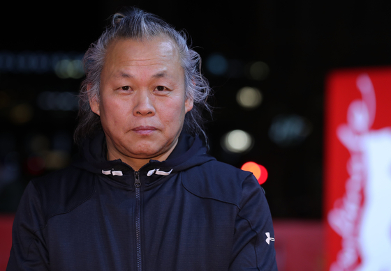 "Filmmaker Kim Ki-duk at the red carpet of the 68th Berlin International Film Festival for his film ""Human, Space, Time and Human"" (2018) on Feb. 17, 2018. [EPA/YONHAP]"