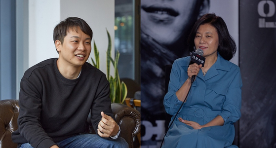 """Screenwriter Jin Han-sae, left, will again team up with Studio 329 led by CEO Yoon Shin-ae, right, to produce new Netflix original series """"Glitch."""" [ILGAN SPORTS]"""
