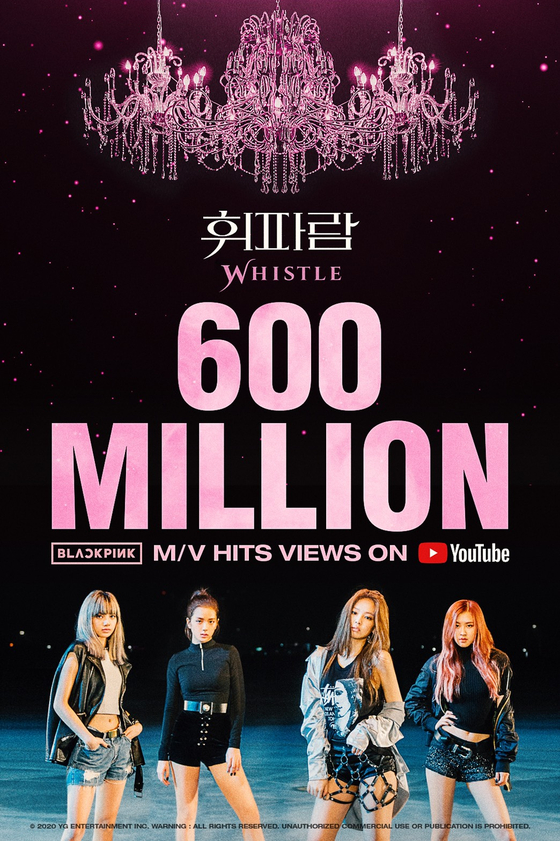 """Blackpink's """"Whistle"""" music video surpassed 600 million views on YouTube as of early Wednesday morning. [YG ENTERTAINMENT]"""