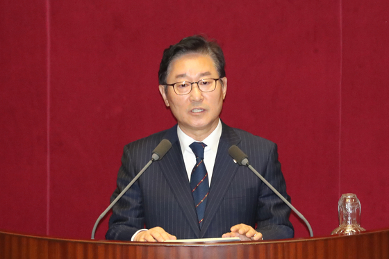 In this file photo, Rep. Park Beom-kye speaks at the National Assembly on Dec. 28, 2019. President Moon jae-in named Park minister of justice on Wednesday. [YONHAP]