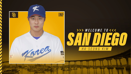 The San Diego Padres announced Kim Ha-seong's signing on the club's official Twitter account.  [SCREEN CAPTURE]