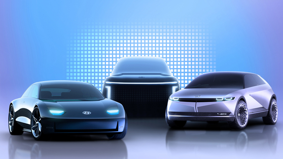 Computer-generated images of Hyundai Motor's electric vehicle lineup including, from left, the Ioniq 6, Ioniq 7 and Ioniq 5. [HYUNDAI MOTOR]