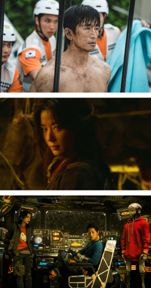 """From the top, scenes from """"What Happened to Mr. Cha?,″ """"Kingdom: Ashin of the North,″ and ″Space Sweepers.″ The former premiered in Netflix on Jan. 1 and the latter two are scheduled to be released on the streaming platform sometime later this year. [NETFLIX]"""