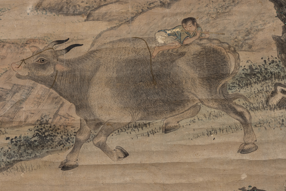 A late Joseon Dynasty (1392-1910) painting depicting a shepherd boy riding on an ox. [NATIONAL FOLK MUSEUM OF KOREA]