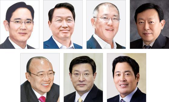 Clockwise from top left: Lee Jae-yong, Chey Tae-won, Euisun Chung, Shini Dong-bin, Chung Yong-jin, Huh Tae-soo, Kim Seung-youn