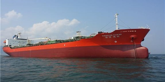 South Korean-flagged tanker MT Hankuk Chemi is pictured in a photo from the website of the ship's operator DM Shipping. The vessel, carrying 20 crewmembers, was seized in the Persian Gulf Monday by Iranian authorities, who alleged that it had been polluting waters. [DM SHIPPING]