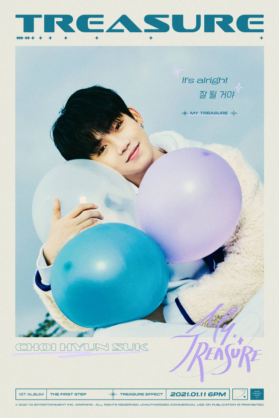 A poster of boy band Treasure's member Choi Hyun-suk featuring some lyrics from the group's upcoming song ″My Treasure,″ set to be released on Jan. 11. [YG ENTERTAINMENT]