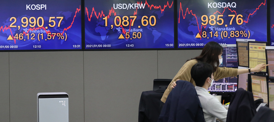 Screens at Hana Bank's dealing room in central Seoul show the Kospi closed at a record high 2,990.57 on Tuesday, up 1.57 percent compared to the previous trading day. The tech-heavy Kosdaq also closed higher Tuesday, up 0.83 percent to 985.76. [YONHAP]