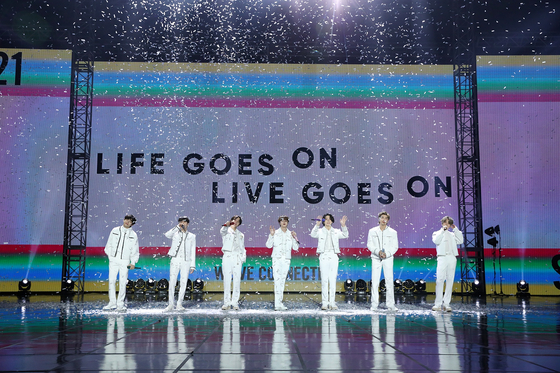 Boy band BTS performs during its agency's first all-label concert ″New Year's Eve Live″ on Dec. 31. [BIG HIT ENTERTAINMENT]