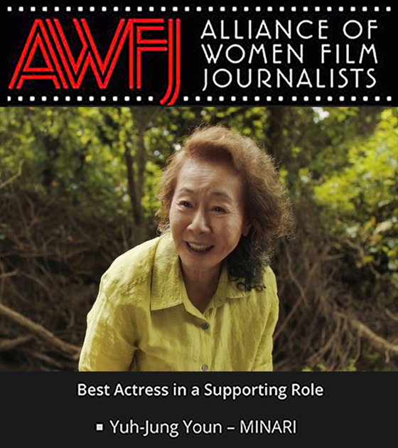 """The Alliance of Women Film Journalists awarded Best Actress in a Supporting Role to actor Youn Yuh-jung for her role in """"Minari."""" [PAN CINEMAS]"""