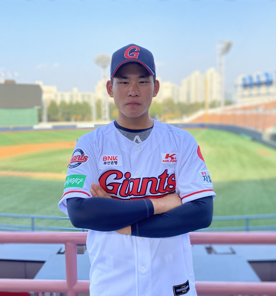 Lotte Giants' rookie pitcher Kim Jin-wook hopes to make as many KBO appearances as possible during his first season in 2021. [LOTTE GIANTS]